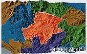 Political 3D Map of Pukë, darken