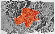 Political 3D Map of Pukë, desaturated