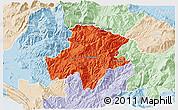 Political 3D Map of Pukë, lighten