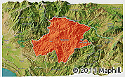 Political 3D Map of Pukë, satellite outside