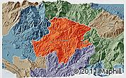 Political 3D Map of Pukë, semi-desaturated