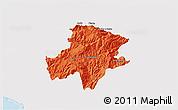 Political 3D Map of Pukë, single color outside