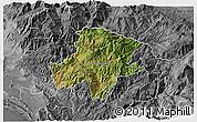 Satellite 3D Map of Pukë, desaturated