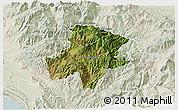 Satellite 3D Map of Pukë, lighten