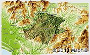 Satellite 3D Map of Pukë, physical outside