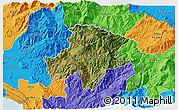 Satellite 3D Map of Pukë, political outside