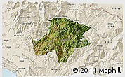 Satellite 3D Map of Pukë, shaded relief outside