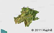Satellite 3D Map of Pukë, single color outside