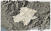 Shaded Relief 3D Map of Pukë, darken