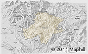 Shaded Relief 3D Map of Pukë, desaturated