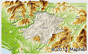 Shaded Relief 3D Map of Pukë, physical outside