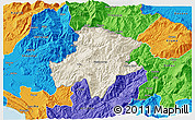 Shaded Relief 3D Map of Pukë, political outside