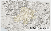 Shaded Relief 3D Map of Pukë, semi-desaturated