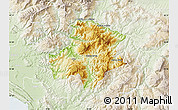 Physical Map of Pukë, lighten