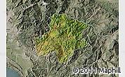 Satellite Map of Pukë, semi-desaturated