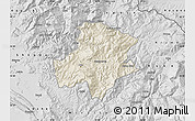 Shaded Relief Map of Pukë, desaturated