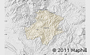 Shaded Relief Map of Pukë, lighten, desaturated