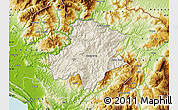 Shaded Relief Map of Pukë, physical outside