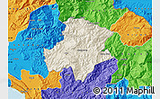 Shaded Relief Map of Pukë, political outside