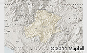 Shaded Relief Map of Pukë, semi-desaturated