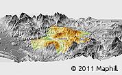 Physical Panoramic Map of Pukë, desaturated