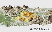 Physical Panoramic Map of Pukë, semi-desaturated