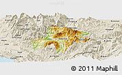 Physical Panoramic Map of Pukë, shaded relief outside