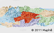 Political Panoramic Map of Pukë, lighten