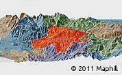 Political Panoramic Map of Pukë, semi-desaturated