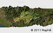 Satellite Panoramic Map of Pukë, darken