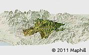 Satellite Panoramic Map of Pukë, lighten