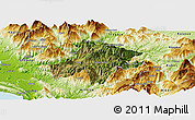 Satellite Panoramic Map of Pukë, physical outside