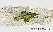 Satellite Panoramic Map of Pukë, shaded relief outside