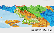 Physical Panoramic Map of Sarandë, political outside