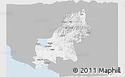 Gray 3D Map of Shkodër, single color outside