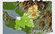 Physical 3D Map of Shkodër, darken