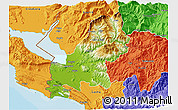 Physical 3D Map of Shkodër, political outside