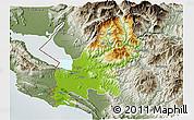 Physical 3D Map of Shkodër, semi-desaturated