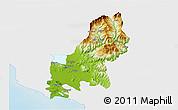 Physical 3D Map of Shkodër, single color outside