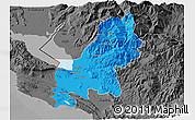 Political 3D Map of Shkodër, darken, desaturated