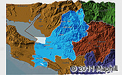 Political 3D Map of Shkodër, darken