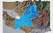 Political 3D Map of Shkodër, darken, semi-desaturated