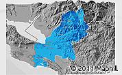 Political 3D Map of Shkodër, desaturated