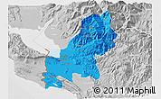 Political 3D Map of Shkodër, lighten, desaturated
