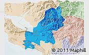 Political 3D Map of Shkodër, lighten