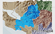 Political 3D Map of Shkodër, semi-desaturated