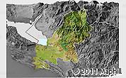 Satellite 3D Map of Shkodër, desaturated