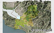 Satellite 3D Map of Shkodër, semi-desaturated