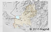 Shaded Relief 3D Map of Shkodër, desaturated
