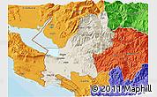 Shaded Relief 3D Map of Shkodër, political outside